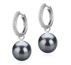 10-11mm AAA-Qualität Tahitisch Paar Ohrringe in Rosalind Schwarz