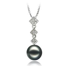 PearlsOnly - Anhänger mit schwarzen, 8-9mm großen Janischen Akoya Perlen in AAA-Qualität , Rozene