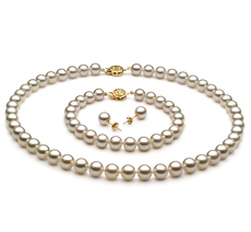 PearlsOnly - Set mit weißer, 7.5-8mm großer Japanischer Akoya Perle in AAA-Qualität , Saphrina
