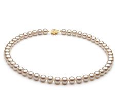 Halskette mit weißen, 7-8mm großen Süßwasserperlen in AAA-Qualität , Saraya