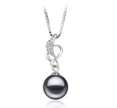 9-10mm AA-Qualität Süßwasser Perlenanhänger in Saskia Schwarz