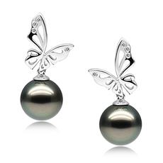 Paar Ohrringe mit schwarzen, 10-11mm großen Tihitianischen Perlen in AAA-Qualität , Schwarze Perle und Schmetterling