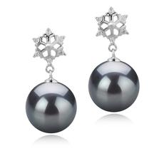10-11mm AAA-Qualität Tahitisch Paar Ohrringe in Snow Schwarz