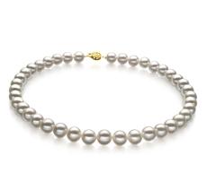 Halskette mit weißen, 9-10mm großen Süßwasserperlen in AAA-Qualität , Soluna