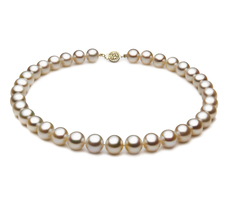 Halskette mit weißen, 10.5-11.5mm großen Süßwasserperlen in AAA-Qualität , Soluna
