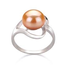 Ring mit rosafarbenen, 9-10mm großen Süßwasserperlen in AA-Qualität , Sonja