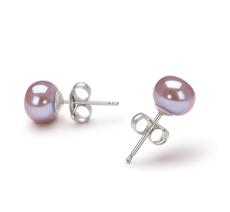 Paar Ohrringe mit lavendelfarbenen, 6-7mm großen Süßwasserperlen in AA-Qualität , Susanne