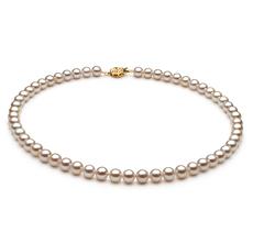 6-7mm AAAA-Qualität Süßwasser Perlenhalskette in Syltje Weiß
