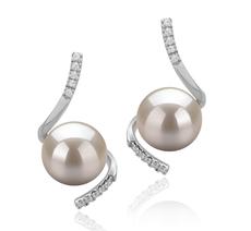 Paar Ohrringe mit weißen, 8-9mm großen Süßwasserperlen in AAAA-Qualität , Taima