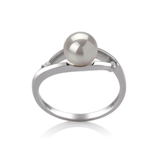 PearlsOnly - Ring mit weißen, 6-7mm großen Janischen Akoya Perlen in AA-Qualität , Tanja
