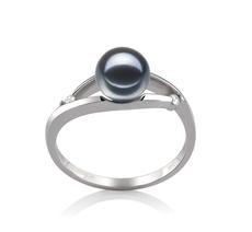 6-7mm AAAA-Qualität Süßwasser Perlenringe in Tanya Schwarz