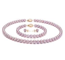 6-6.5mm AAA-Qualität Süßwasser Perlen Set in Tilda Lavendel