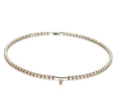 PearlsOnly - Halskette mit weißen, 3-4mm großen Süßwasserperlen in A-Qualität , Tropfen