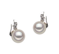Paar Ohrringe mit weißen, 6-7mm großen Janischen Akoya Perlen in AA-Qualität , Valeska