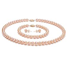 6-7mm AA-Qualität Süßwasser Perlen Set in Viktoria Rosa