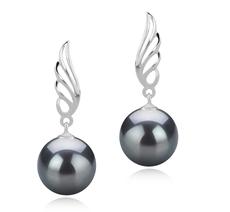 9-10mm AAA-Qualität Tahitisch Paar Ohrringe in Wing Schwarz