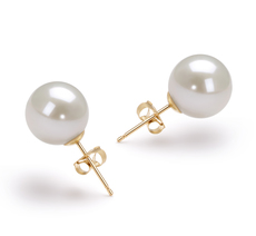 9-10mm AAAA-Qualität Süßwasser Paar Ohrringe in Wolke Weiß