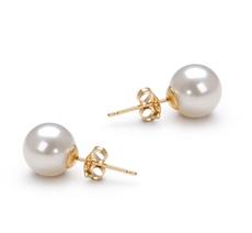 Paar Ohrringe mit weißen, 7-8mm großen Süßwasserperlen in AAAA-Qualität , Zarina
