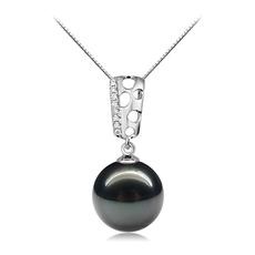 10-11mm AAA-Qualität Tahitisch Perlenanhänger in Zuella Perle Schwarz